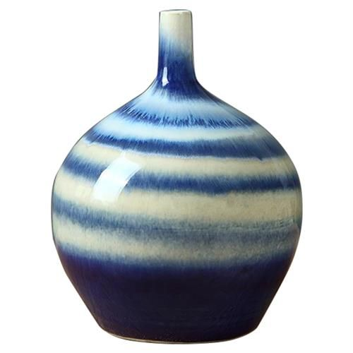 Ari Modern Classic Blue and White Horizontal Stripe Porcelain Vase  Small 10in is part of Classic Home Accessories Blue And White -