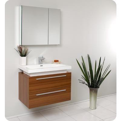 Fresca - Medio Meuble-lavabo de salle de bains moderne teck avec ...