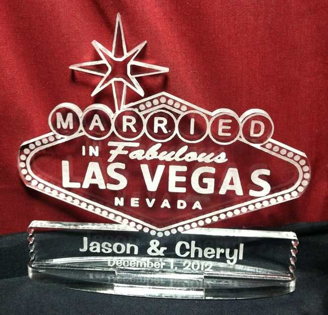 Married In Fabulous Las Vegas Personalized Cake Topper Engraved With Your Name And Wedding Date Lightweight