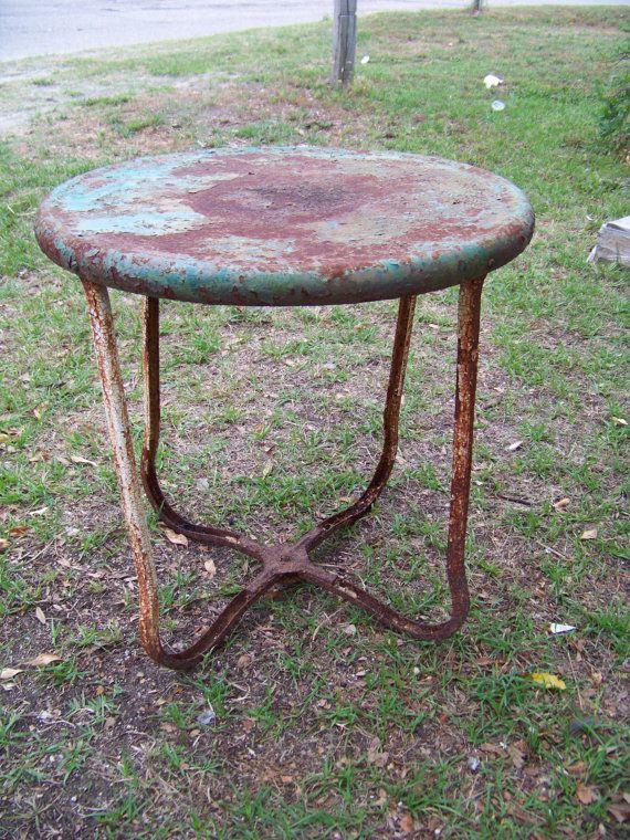 Vintage Metal Round Side Table Garden Patio Porch