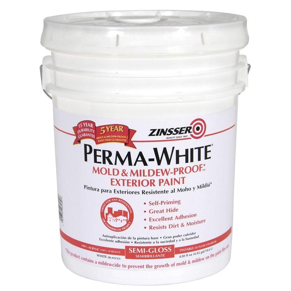 Zinsser Perma White 5 Gal Mold Mildew Proof White Semi Gloss Exterior Paint 3130 Exterior Paint Interior Paint Interior Paint Colors