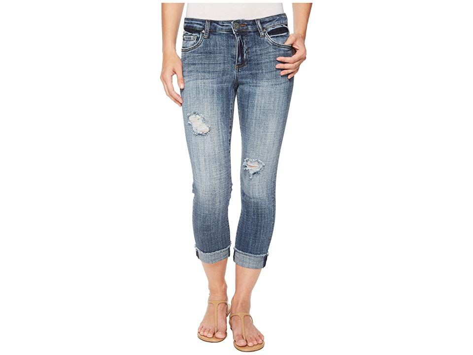 KUT from the Kloth Amy Crop Straight Leg w Fray Hem in Soar SoarMedium Base Wash Womens Jeans Stylish laidback denim Fivepocket crop features a mid rise straight leg and...