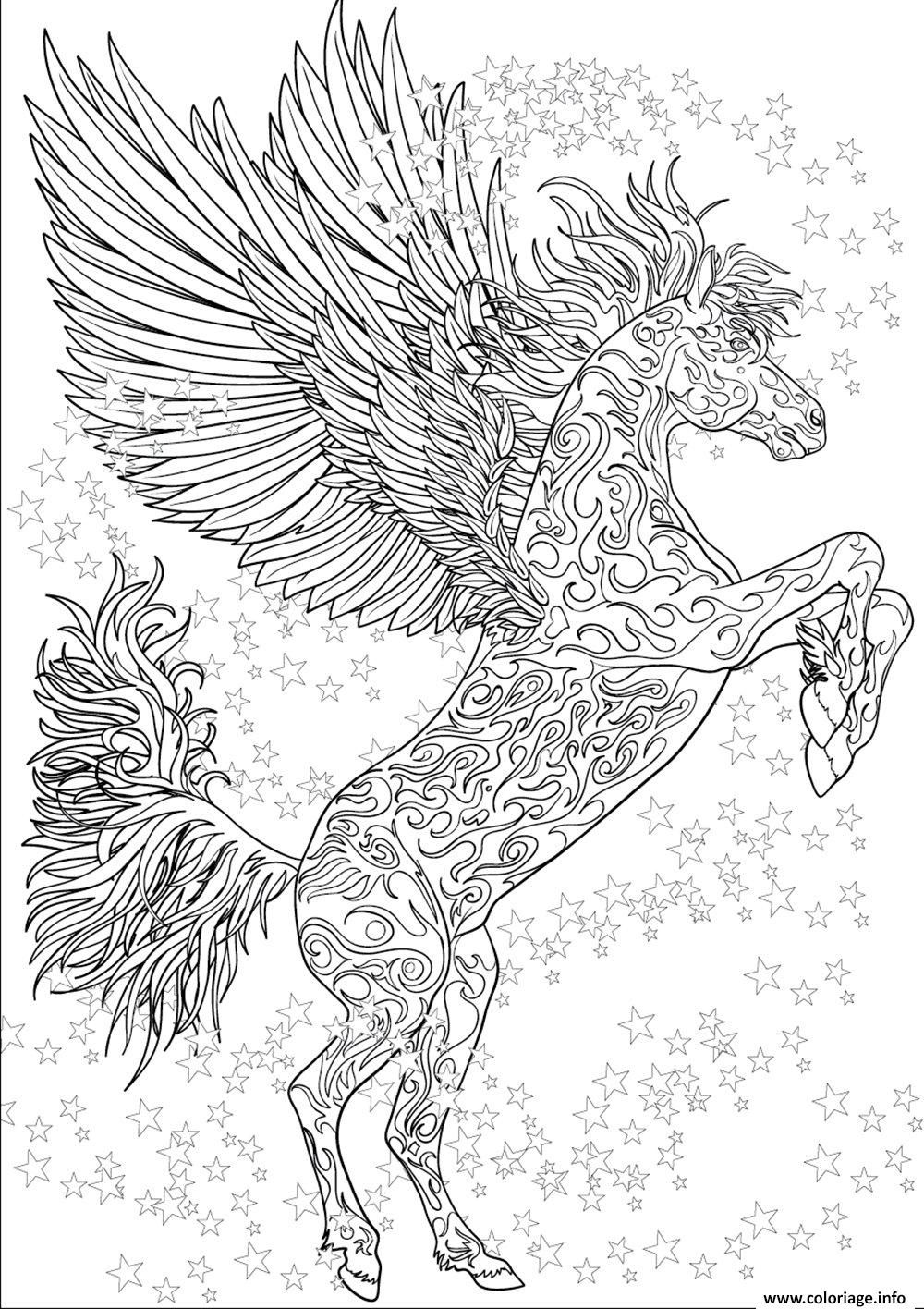Coloriage cheval adulte licorne ailes antistress etoiles - Coloriage adulte difficile ...