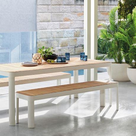Adelphi Outdoor 3 Piece Dining Set Teak Freedom Outdoor Dining Table Dining Table With Bench Outdoor Furniture Sets