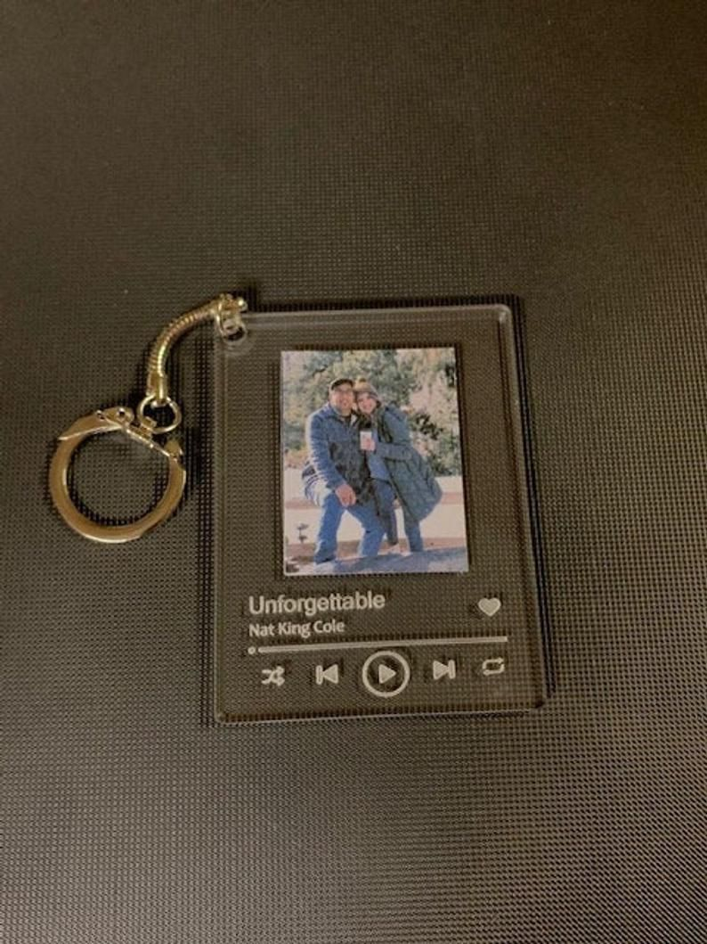 Engraved Custom Acrylic Song Keychain link QR code with