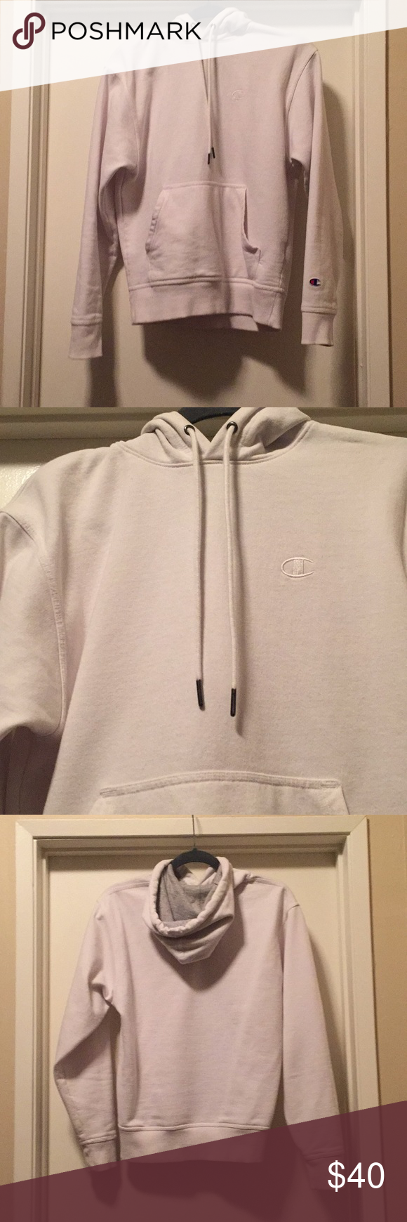 Solid White Champion hoodie No flaws/stains Only worn once and in GREAT condition Champion Sweaters #championhoodie