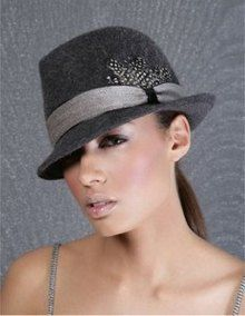 Grey womens short brimmed felt fedora hat with grey band and feather ... 53dead81a22