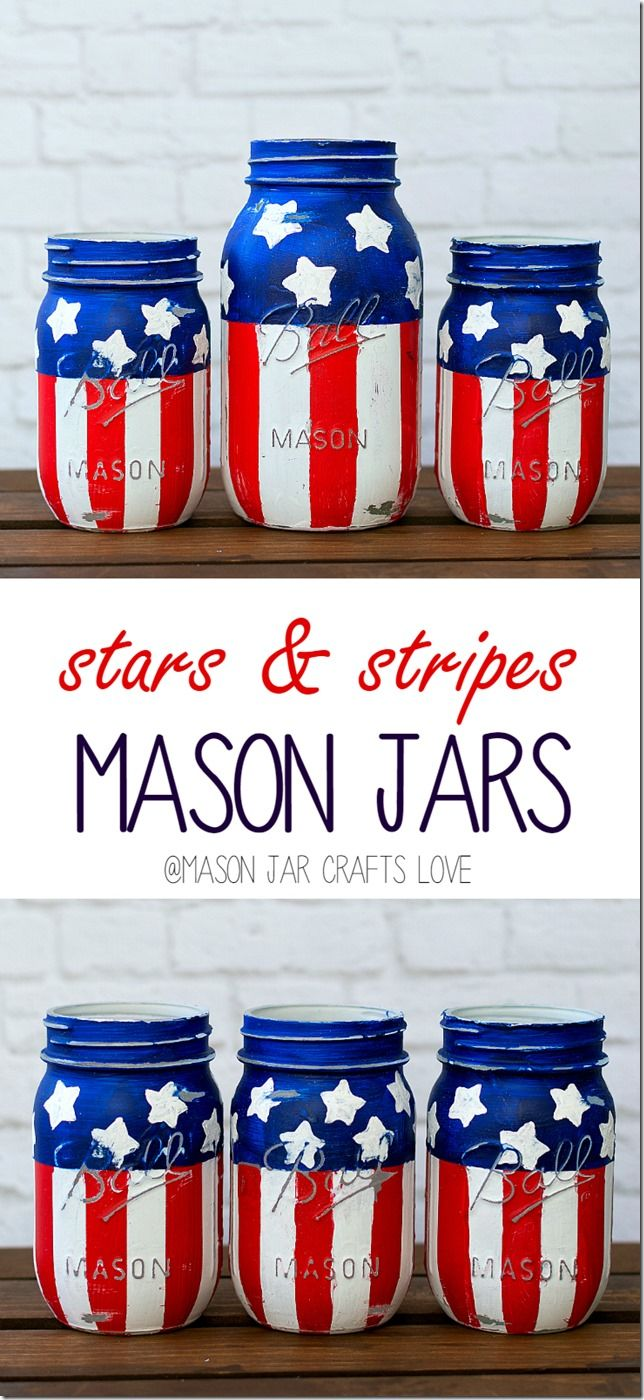 Stars u stripes mason jars jar tutorials and craft