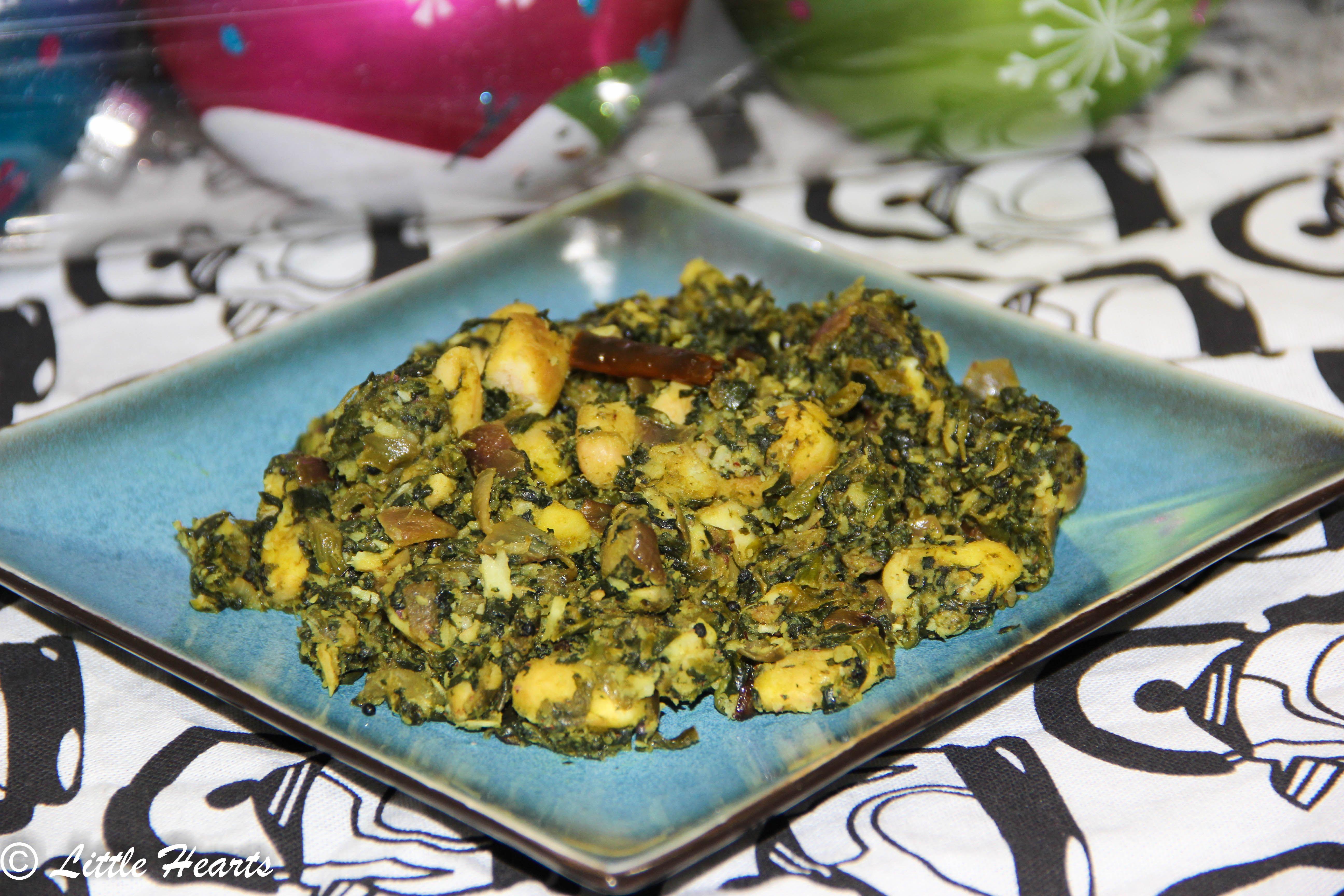 Cheera pachappil chakkakkuru thoran kerala style spinach
