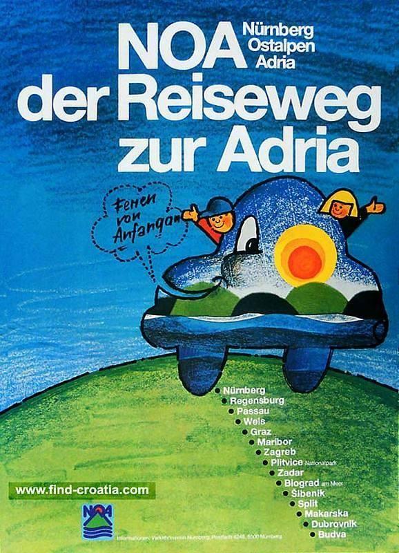Vintage Alpe Adria Motorway Poster From 1970s A New Motorway Poster Alpe Adria 1970s Nurnberg Regensburg Passau Wels Graz Maribor Zadar Zagreb Passau