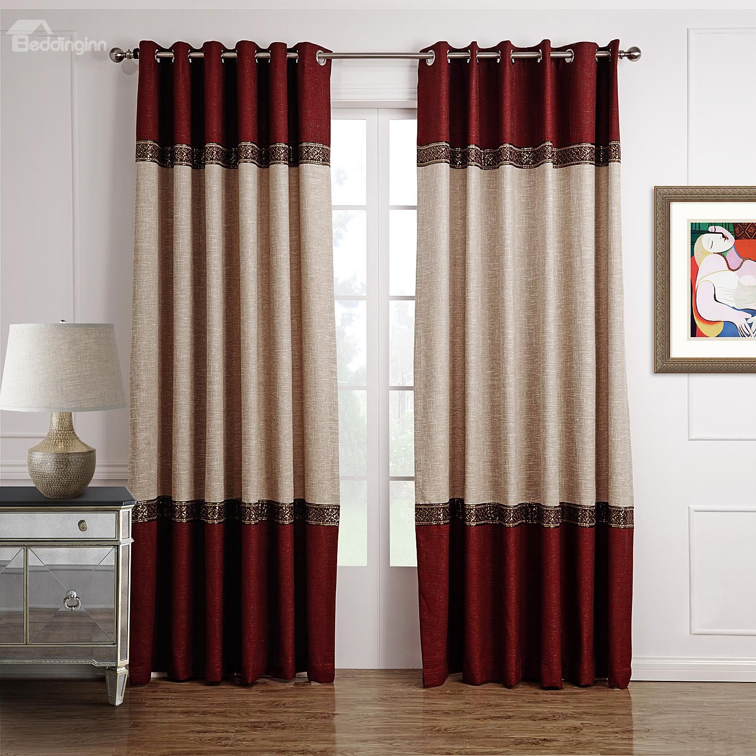 Hot Selling Fantastic Joint Color Decorative Border Design Custom Curtain Curtains Living Room Red Curtains Curtain Decor