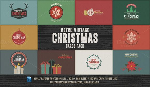 Retro/Vintage Christmas Cards Pack @creativework247 | Templates ...