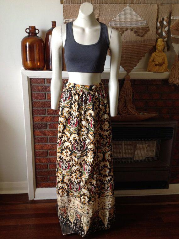 Vintage 70 S Balinese Batik Maxi Skirt Size S M Gypsy Boho By