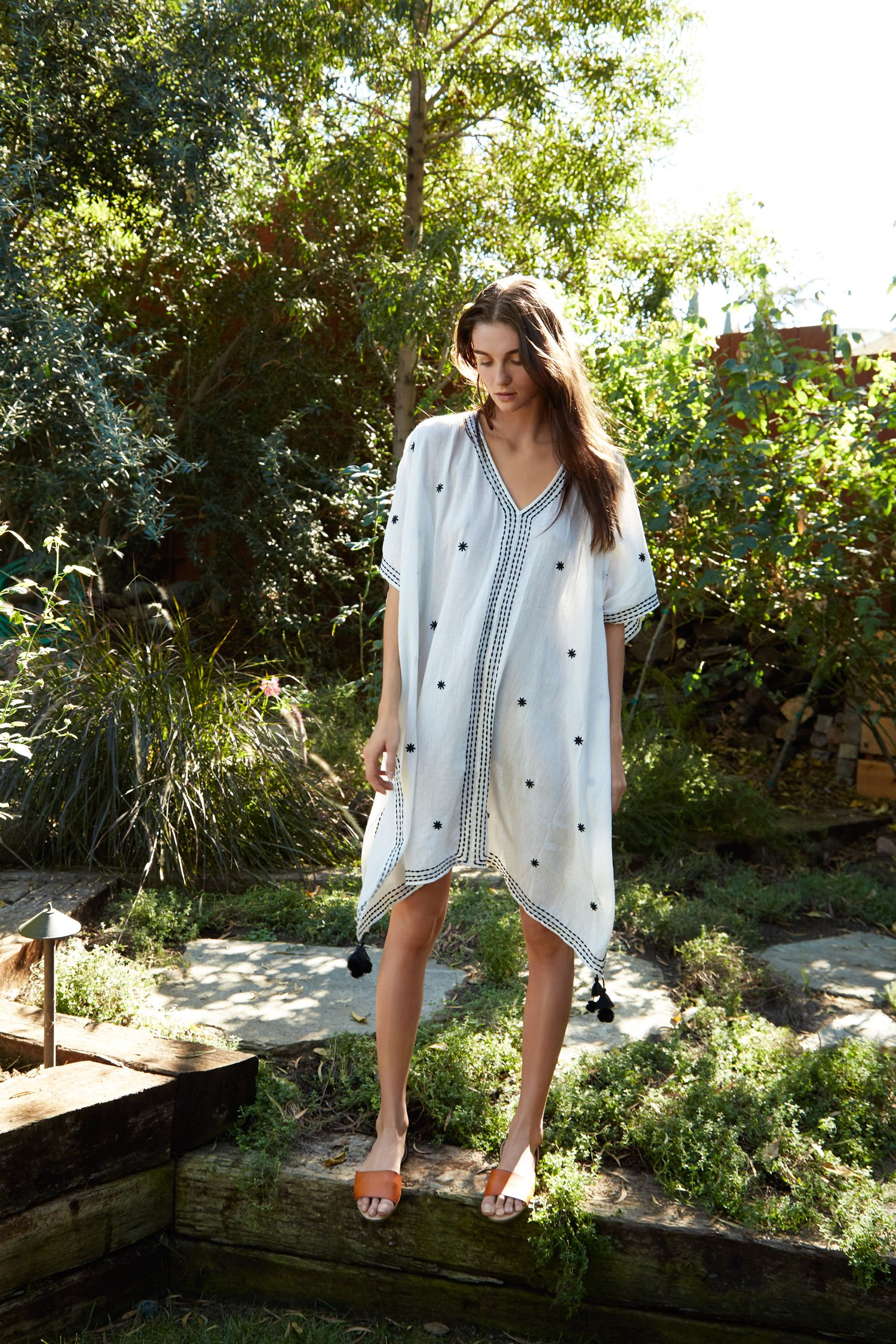 Aubree Embroidered Cotton Cover-Up Dress, Velvet by Graham and Spencer.
