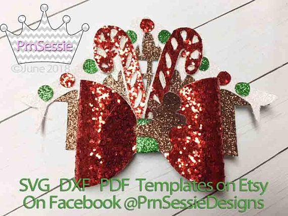 Christmas Hair Bow Template.Digital Svg Dxf Pdf Gingerbread Candy Cane Bow Template