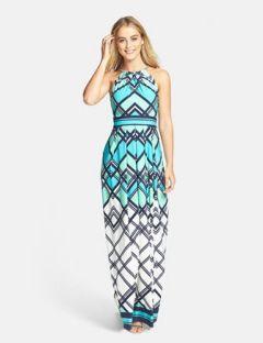 Eliza J Graphic Print Jersey Maxi Dress