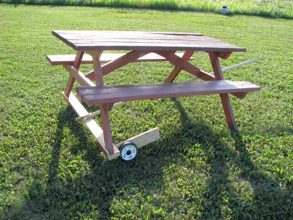 Detailed Plans For Making A Picnic Table And A Table Mover - Picnic table mover