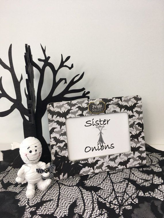 Decoupaged Halloween Picture Frame Trick or Treat Gray and Black