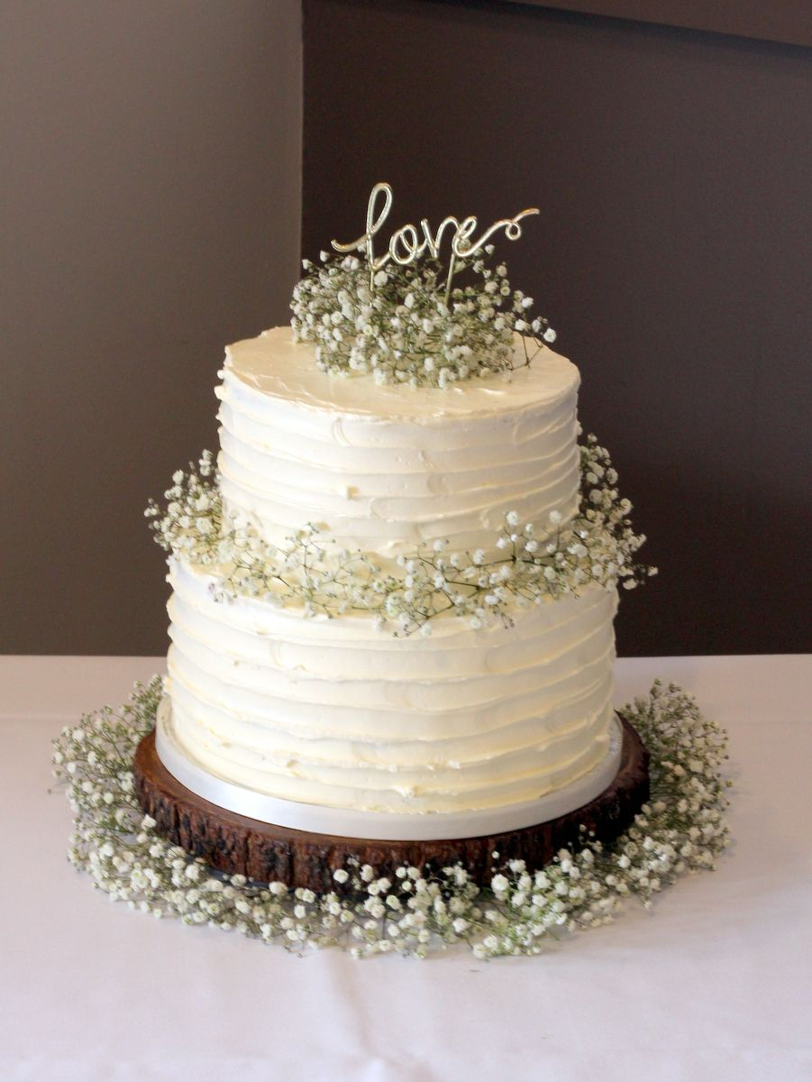 2 Tier Rustic Buttercream With Images Wedding Cake Simple