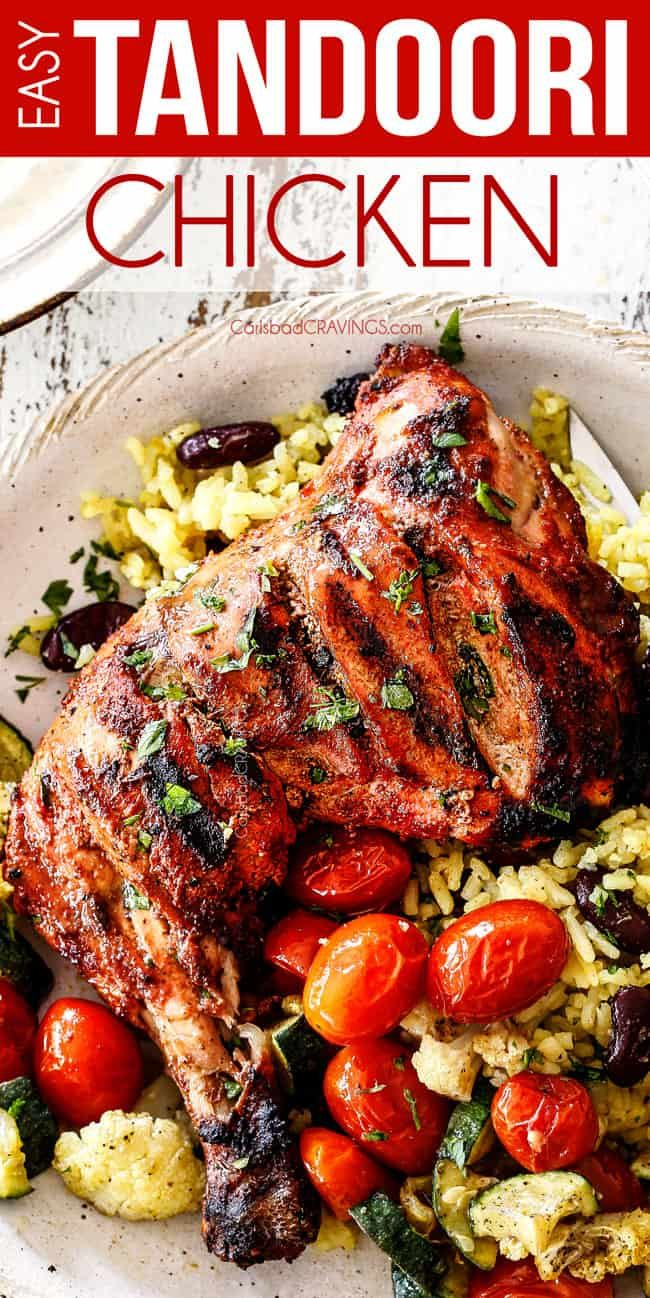 top view of authentic tandoori Chicken with Indian rice and roasted tomatoes #tandoorichicken