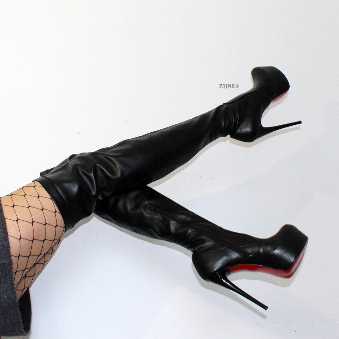 2423c97fdb7 Strech Black High Heel Platform Knee High Boots – Tajna Club Black High  Heels