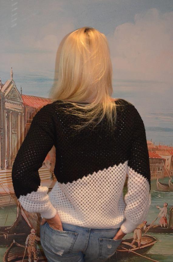 Handmade Sweater, Chunky Knit Jumper, Baggy Jumper, Chunky Knit Sweater, Spring Sweater, Knitted Jumper, Knitted Sweater, black and white