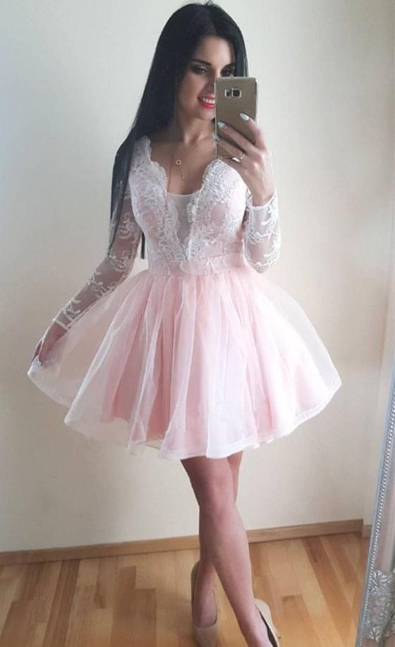 Encaje Manga Larga Puro Tul Plisado Corto Cuello en V Profundo Exquisitos Rosados Vestidos de Fiesta – Rosa / US8  – Moda