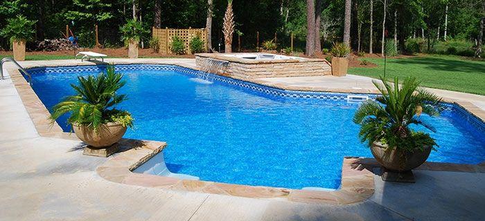 Lazy L Pool Vinyl Pool Pool Landscaping Spa Pool