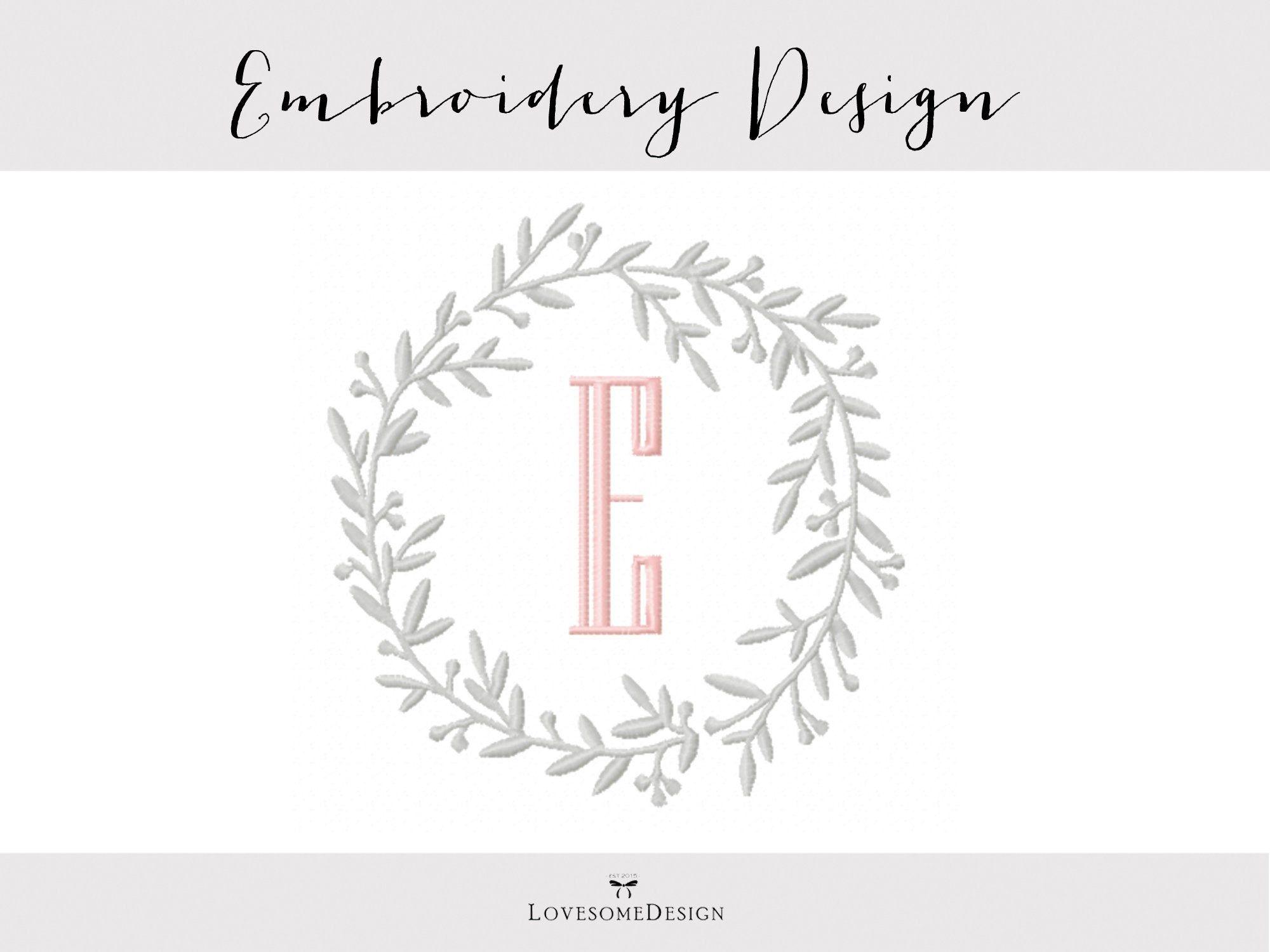 Photo of Vine Wreath Embroidery Design Four Sizes, Modern Embroidery Design, Wreath Embroidery, Laurel Embroidery Design, Wreath for Monograms