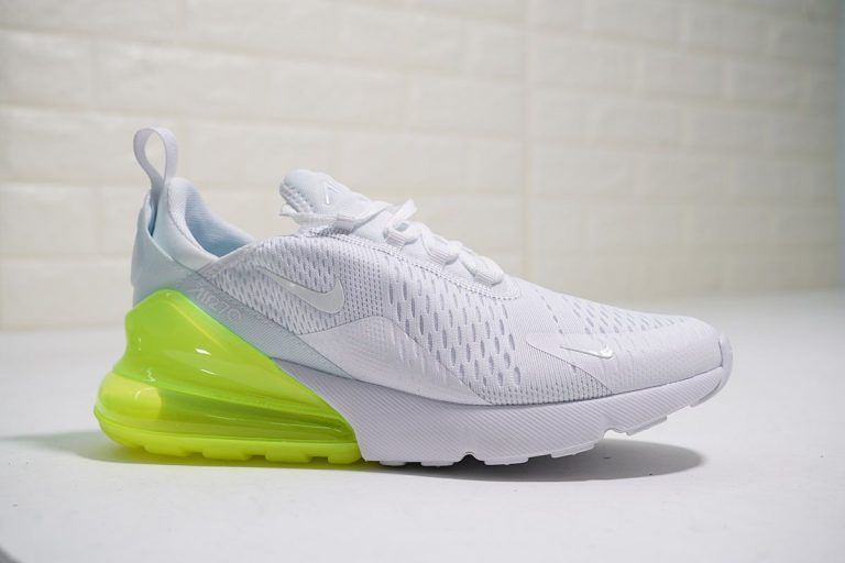Men's and Women's Nike Air Max 270 White Volt Running Shoes