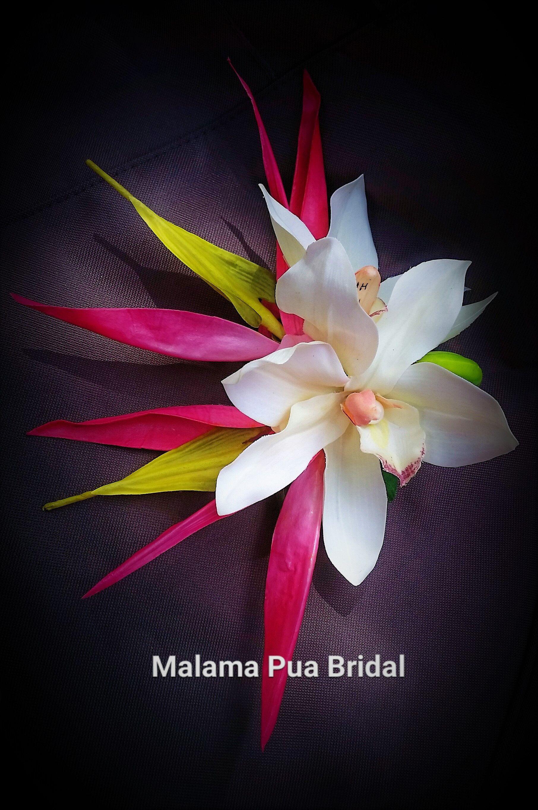 Custom Flower Headpiece Hair Accessory Hawaiian Orchids Bird Of