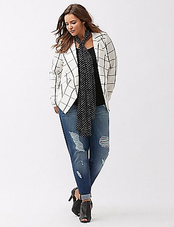In our luxe Tailored Stretch fabric for a flattering, fluid fit, our drape front jacket makes any work or weekend outfit feel special in bias-cut plaid. Unlined for lightweight layering. lanebryant.com