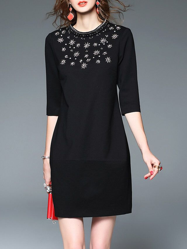 Black Beaded H-line Stand Collar Elegant Mini Dress