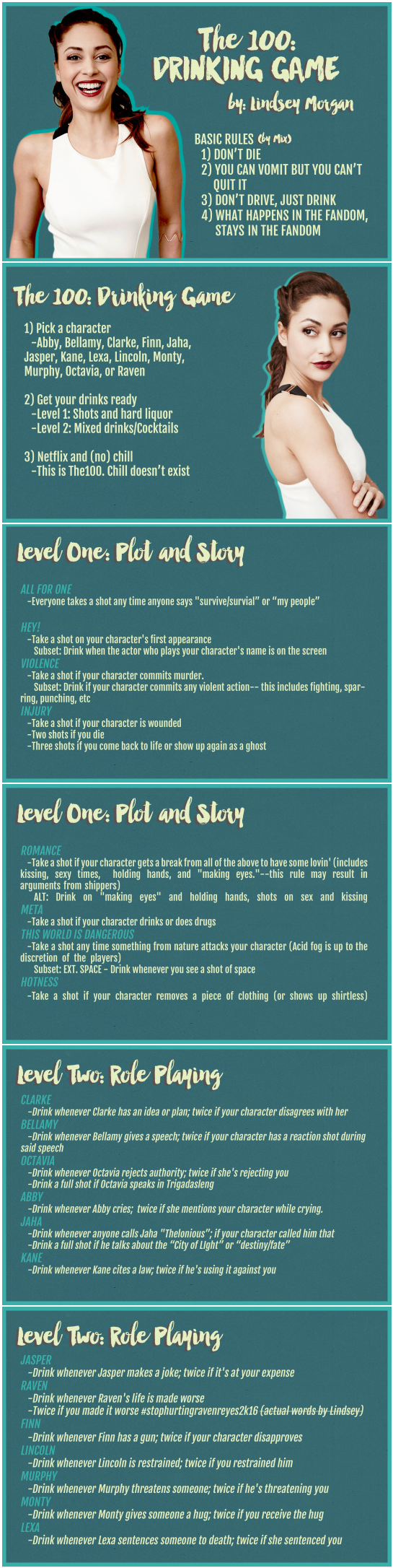 The 100 Drinking Game By Lindsey Morgan  Raven Reyes  Pick A Character