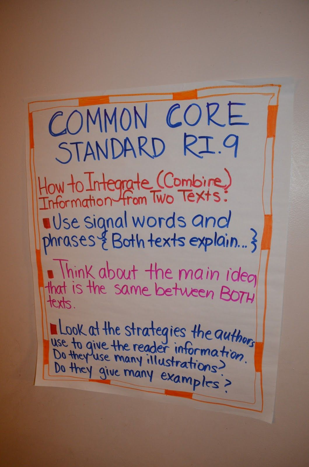 Common Core Reading Anchor Chart
