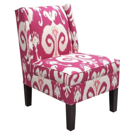 Ikat Wingback Chair in Raspberry #ikat #chair #pink