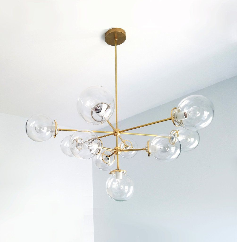 large handblown glass globes brass chandelier | Dining room