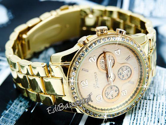 Damski Zloty Zegarek Geneva Cyrkonie Swarovski Hit Blogerek Boho Fashion Rolex Watches Accessories
