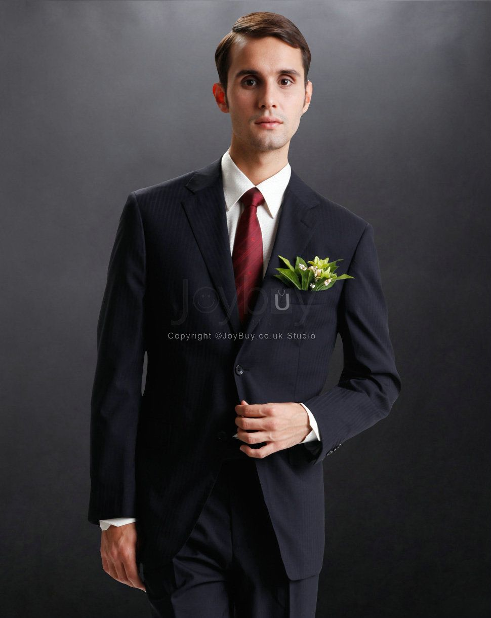 Stripes Notch Lapel Formal Handsome Young Men Suits £186.99 ...