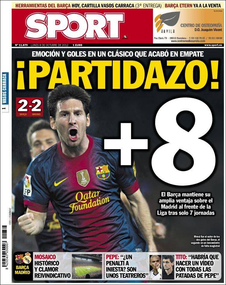 Prensa deportiva del 8 de Octubre 2012 Barça [2 2