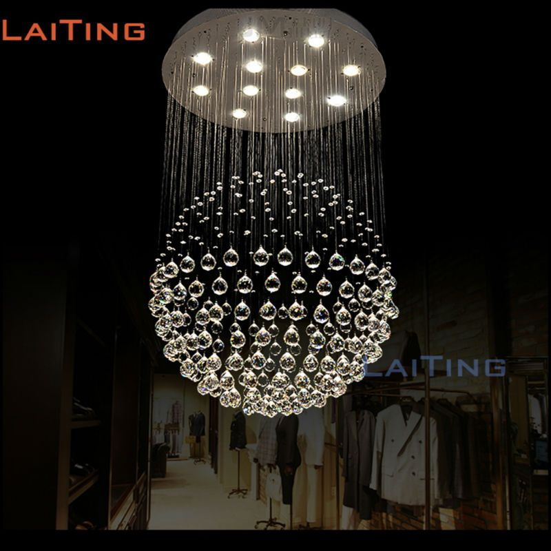 Best Modern Round Steel Stair Design Crystal Chandelier 400 x 300