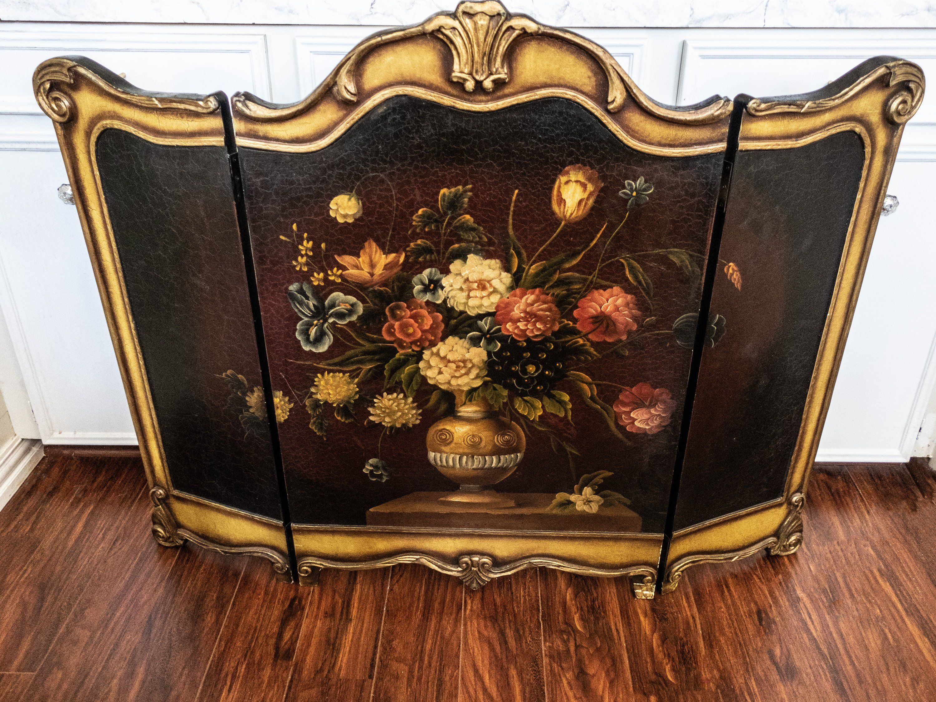 Baroque Hand Painted Fireplace Screen Triptych Oil Painting On