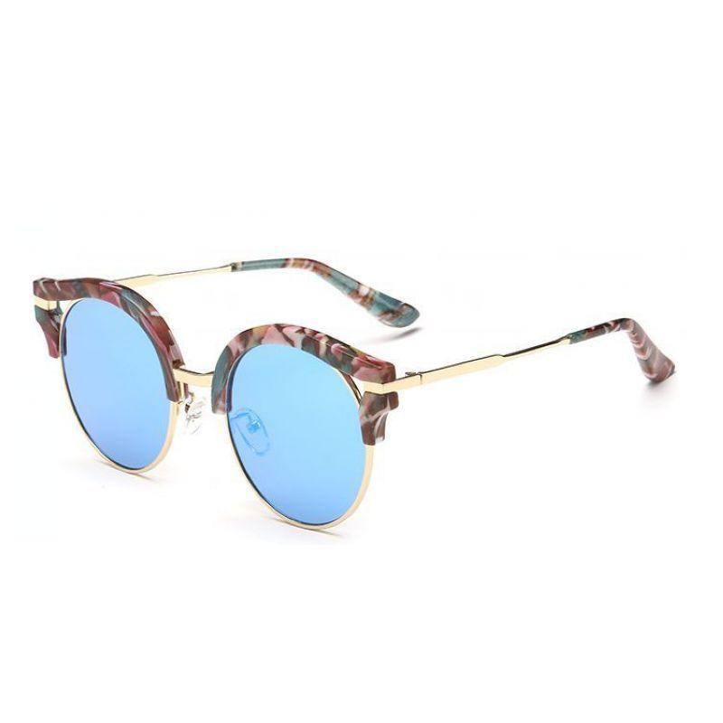 fc44f36d615 Classic Round Lens Cat Eye Sunglasses Gold-Tone Metal Floral Frame Blue  Polarized Lens