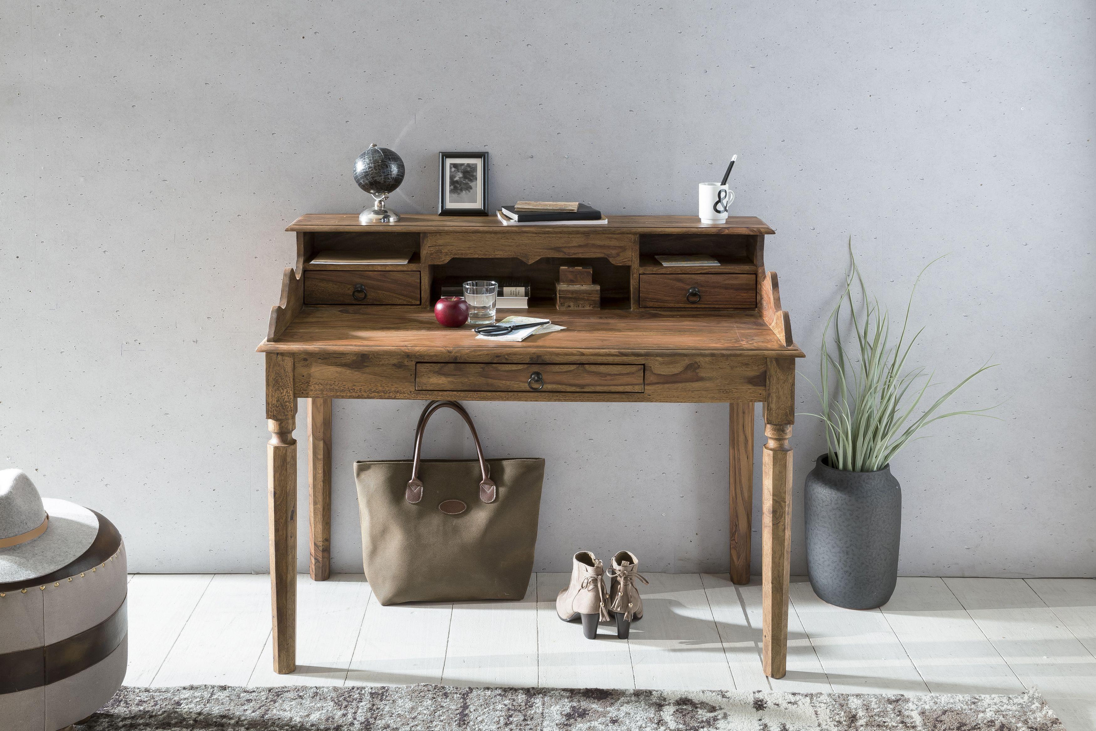 Schreibtisch extravagant  Wohnling Schreibtisch Kada 115 cm WL1.751 aus Sheesham Massivholz ...