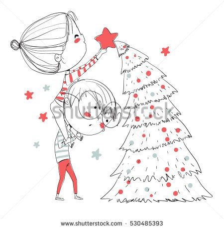 Girl And Boy Decorating The Christmas Tree Valentines Illustration Valentines Day Drawing Tree Cartoon Images