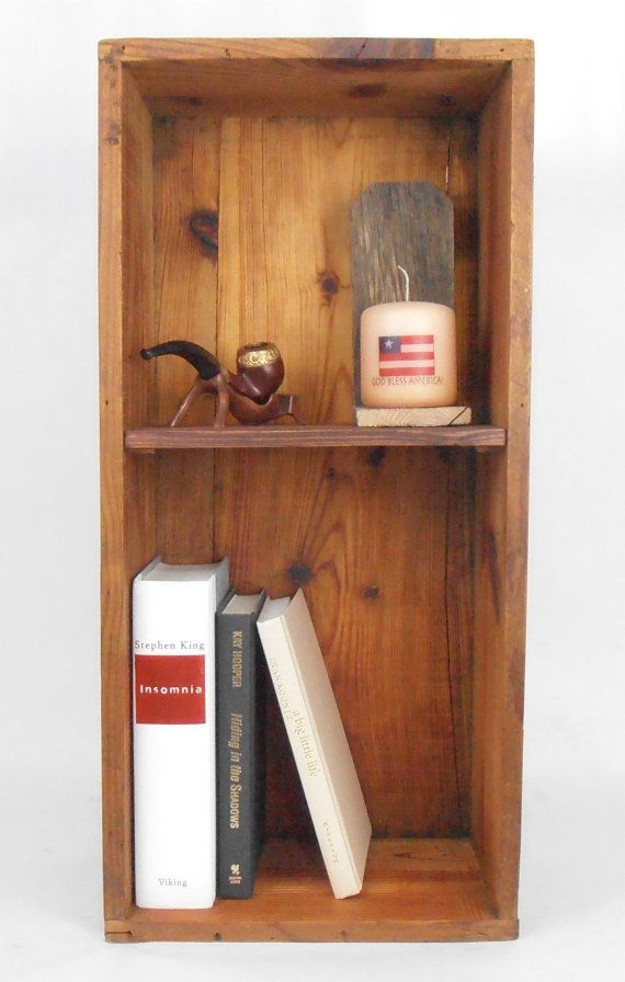 Wood Crate Bookcase Bookshelf Wilewoodetsycom Pinterest