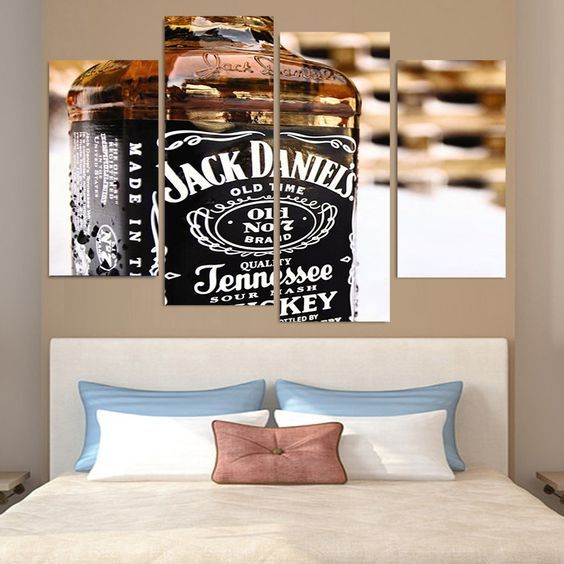 Canvas Painting 4 Piece Canvas Art Jack Daniels Whiskey HD Printed ...