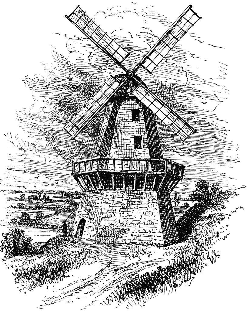 Sketch Of Old Vinetage Windmill Windmolens Tekenen Vuurtoren