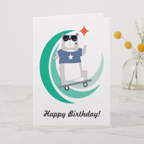 Cool Hipster Skateboarding Bear Birthday Card Zazzle Com Birthday Cards Bear Birthday Custom Greeting Cards