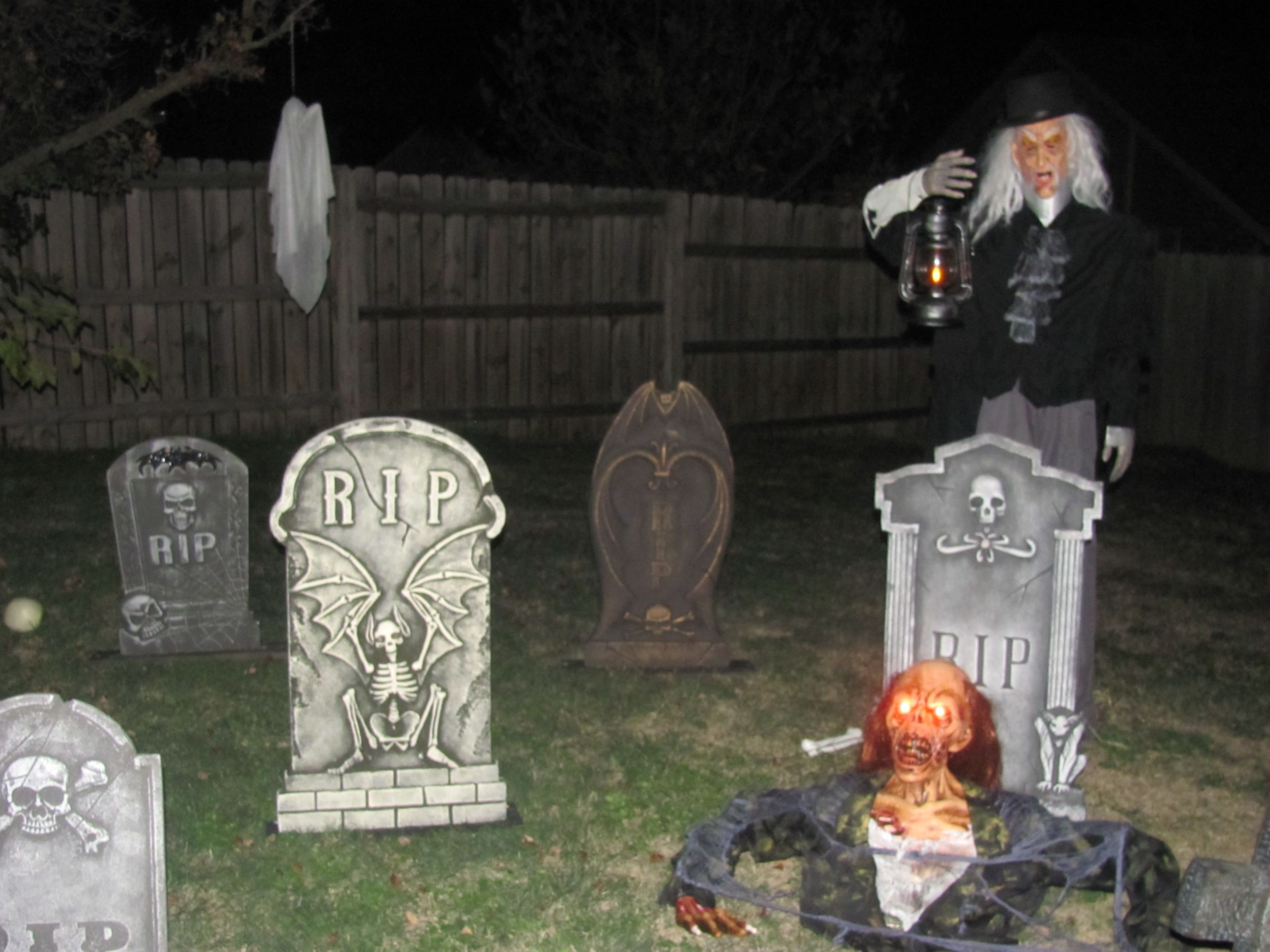 Grave yard: i made the grave digger out of pvc pipe and an old